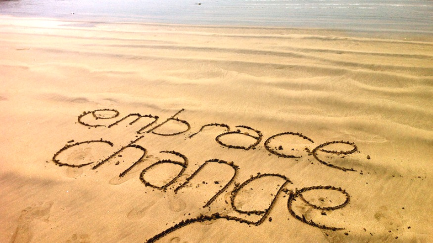 embrace change sand drawing