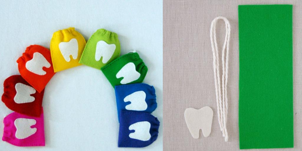 felt drawstring tooth pouches