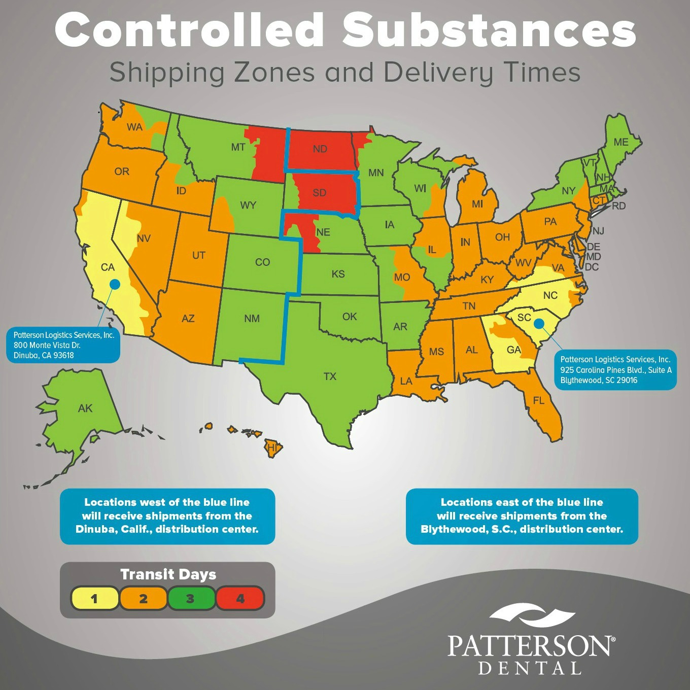 controlled substances fulfilment center map