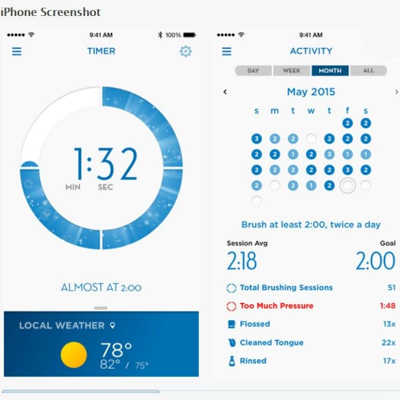 iphone screen grab of oral b app