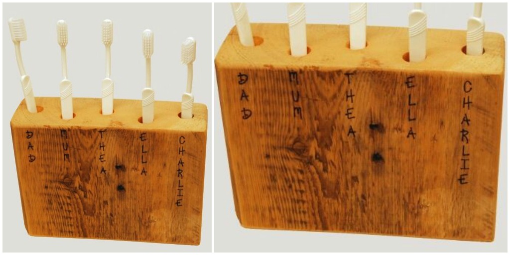 rustic wood block toothbrush holder
