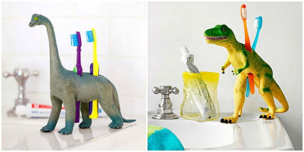 whimsical plastic dinosaur toothbrush holder
