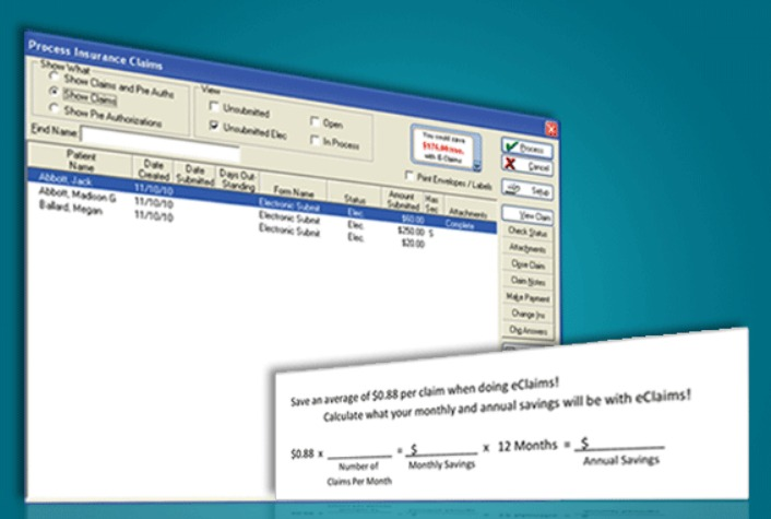 Eaglesoft eClaims screen grab