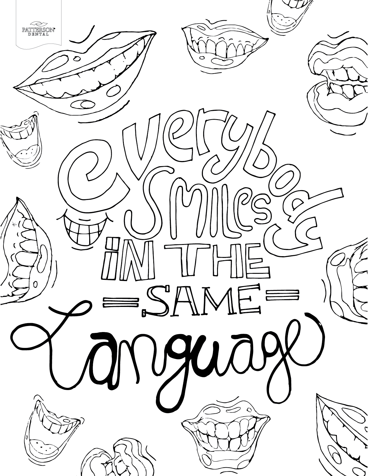 Colouring in pages dental - Everybody Smiles In The Same Language Coloring Page From Patterson Dental