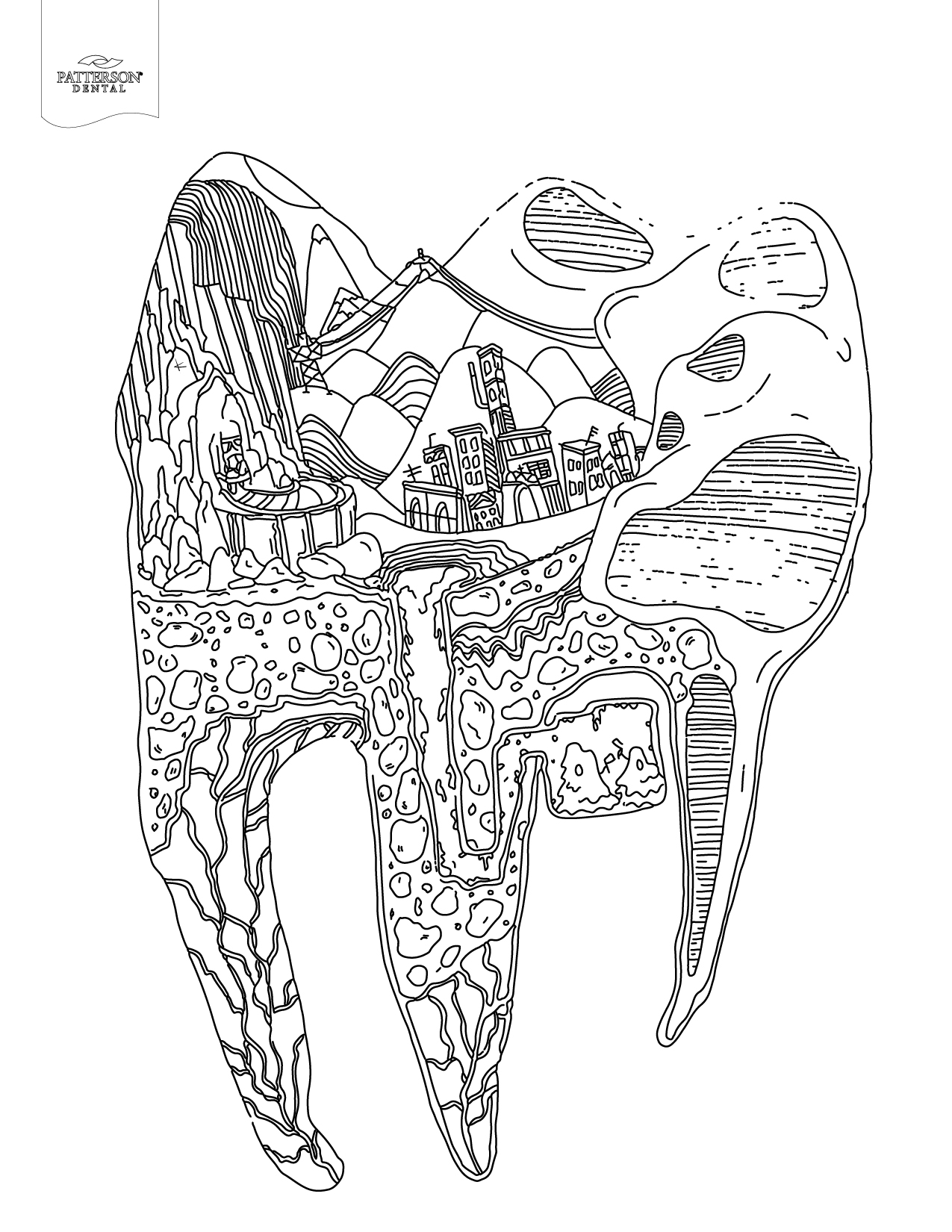 Colouring in pages dental - Tooth Cityscape Coloring Page