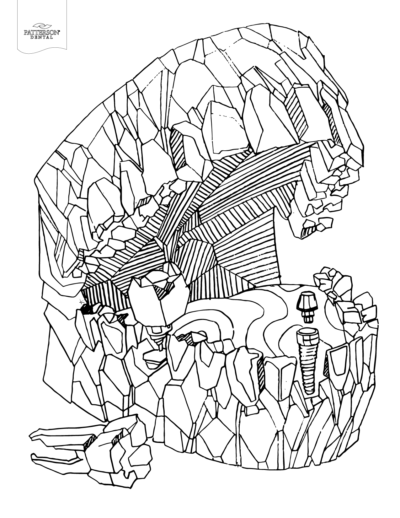 Colouring in pages dental - Jaw Carved From Rock Coloring Page From Patterson Dental