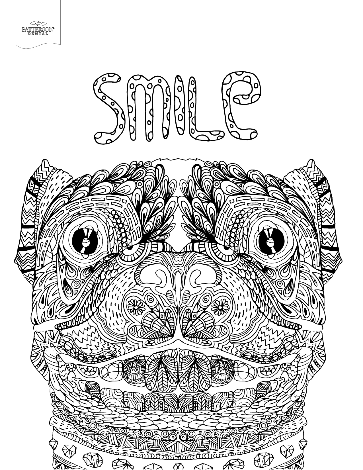 Colouring in pages dental - Smiling Dog Coloring Page From Patterson Dental