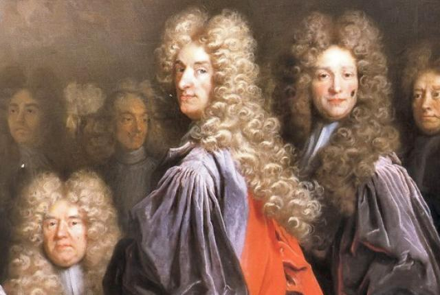 Men in powdered wigs painting