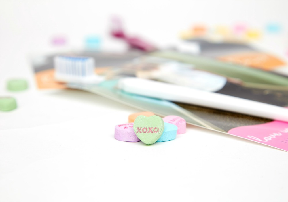 toothbrush valentines and conversation hearts