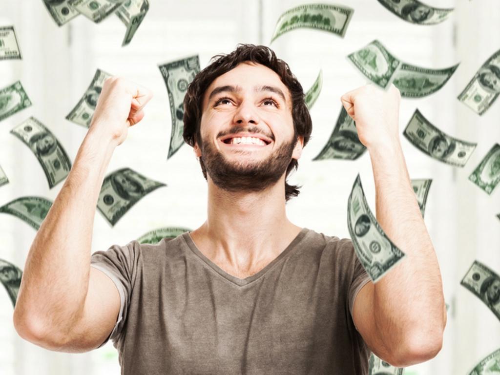 man being showered in money