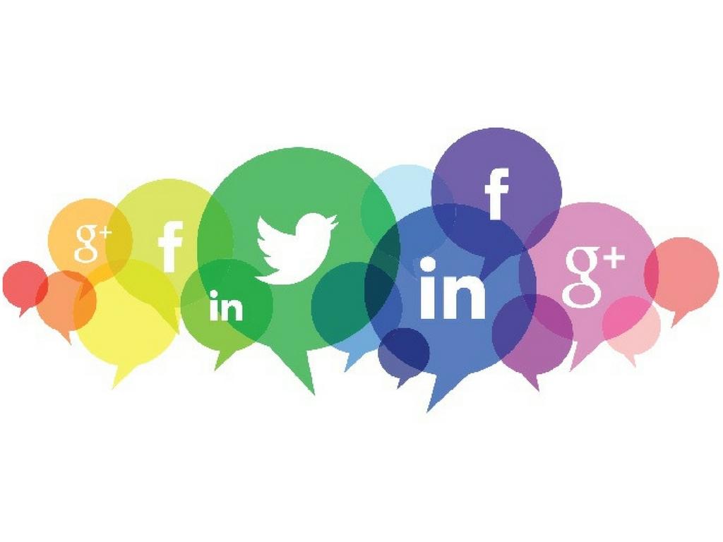 social media icons in rainbow hues