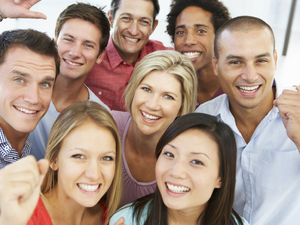 happy cohesive team