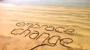 embrace change sand drawing