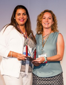 Cecilia Mescain, 2015 AADOM Office Manager of the Year, with Heather Colicchio, President and Founder of AADOM