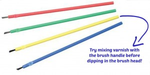 brush handle tip for mixing varnishes
