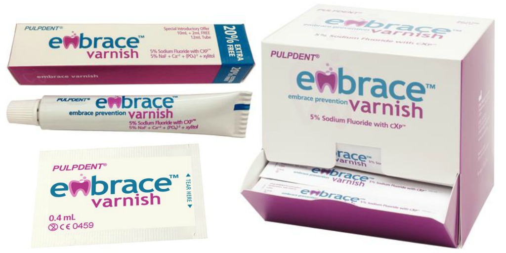 embrace fluoride varnish by pulpdent