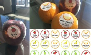 fruit with printable dental stickers attached