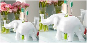 chic wooden elephant toothbrush holder