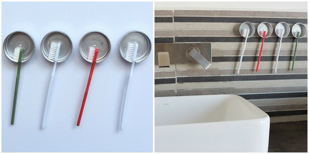 minimalist painted bottle cap toothbrush holder
