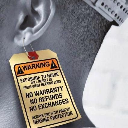 hearing loss warning illustration