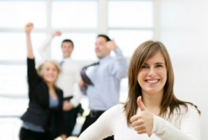 happy coworkers thumbs up