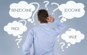 benzocaine anesthetics versus lidocaine anesthetics