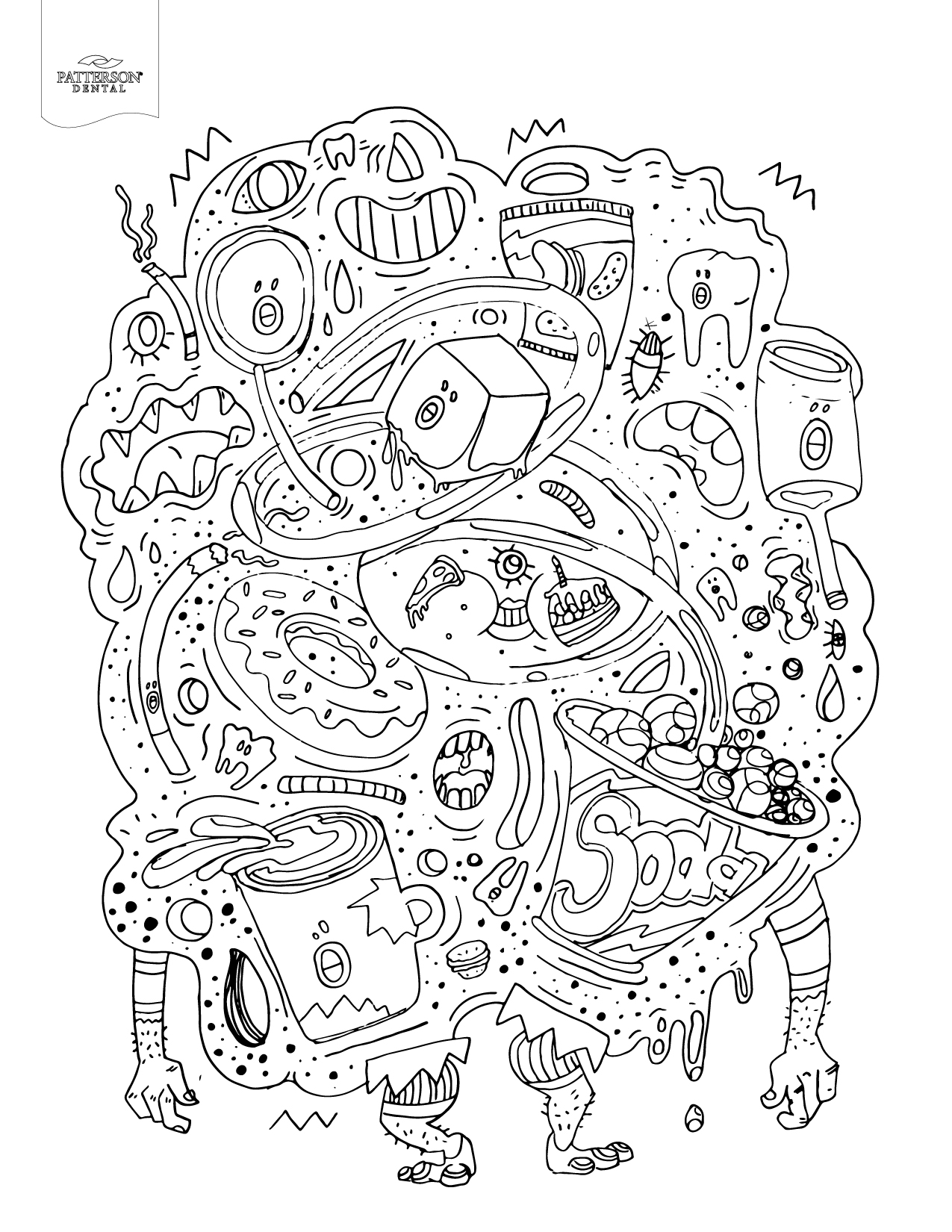 Junk Food Monster Coloring Page from Patterson Dental
