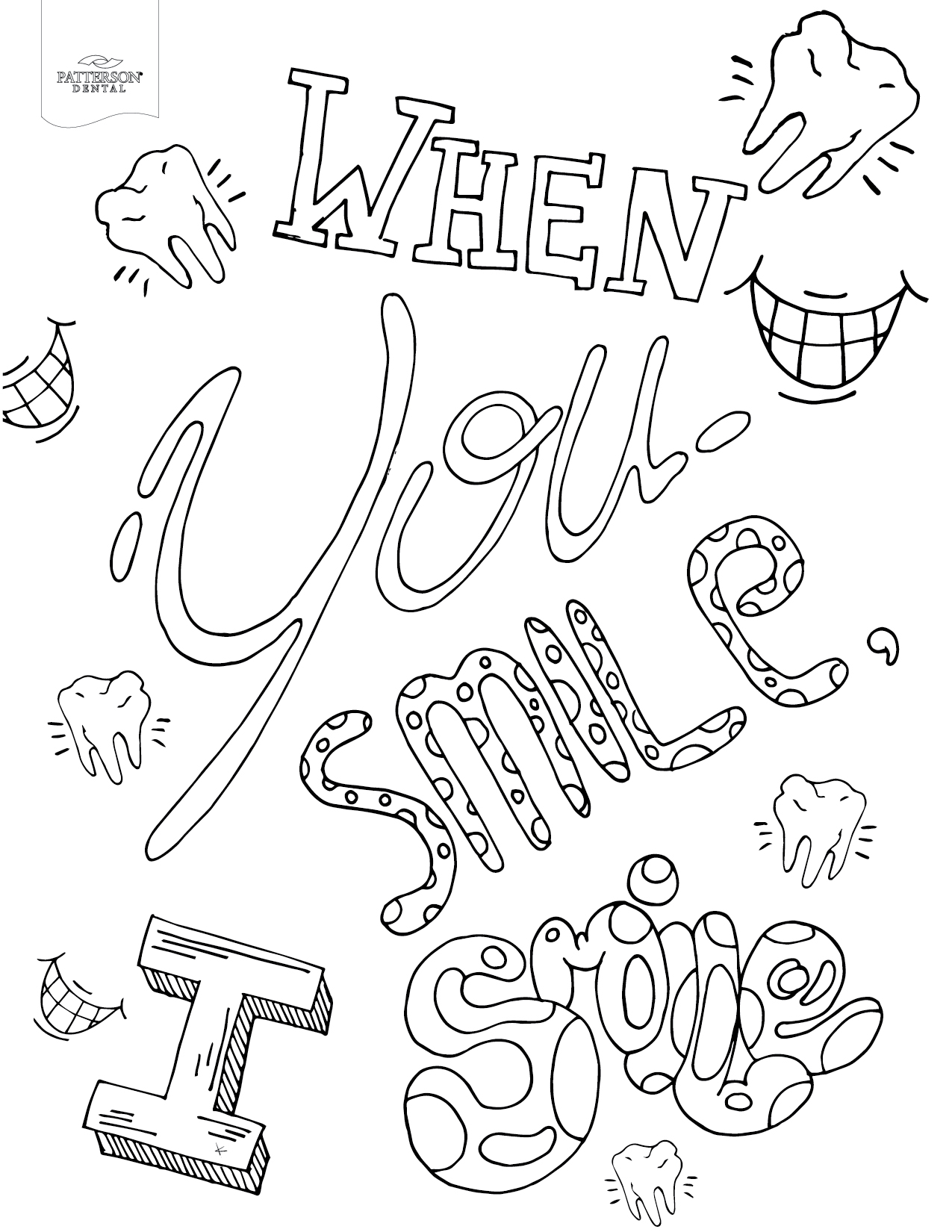 When you smile I smile coloring page from Patterson Dental