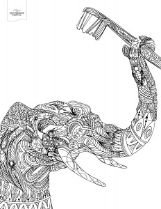 Elephant with toothbrush coloring page from Patterson Dental