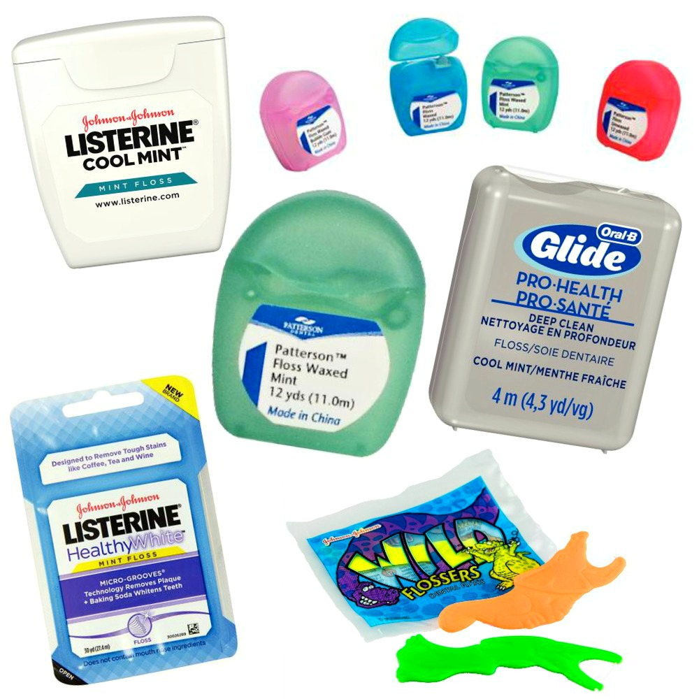 collage of dental floss options