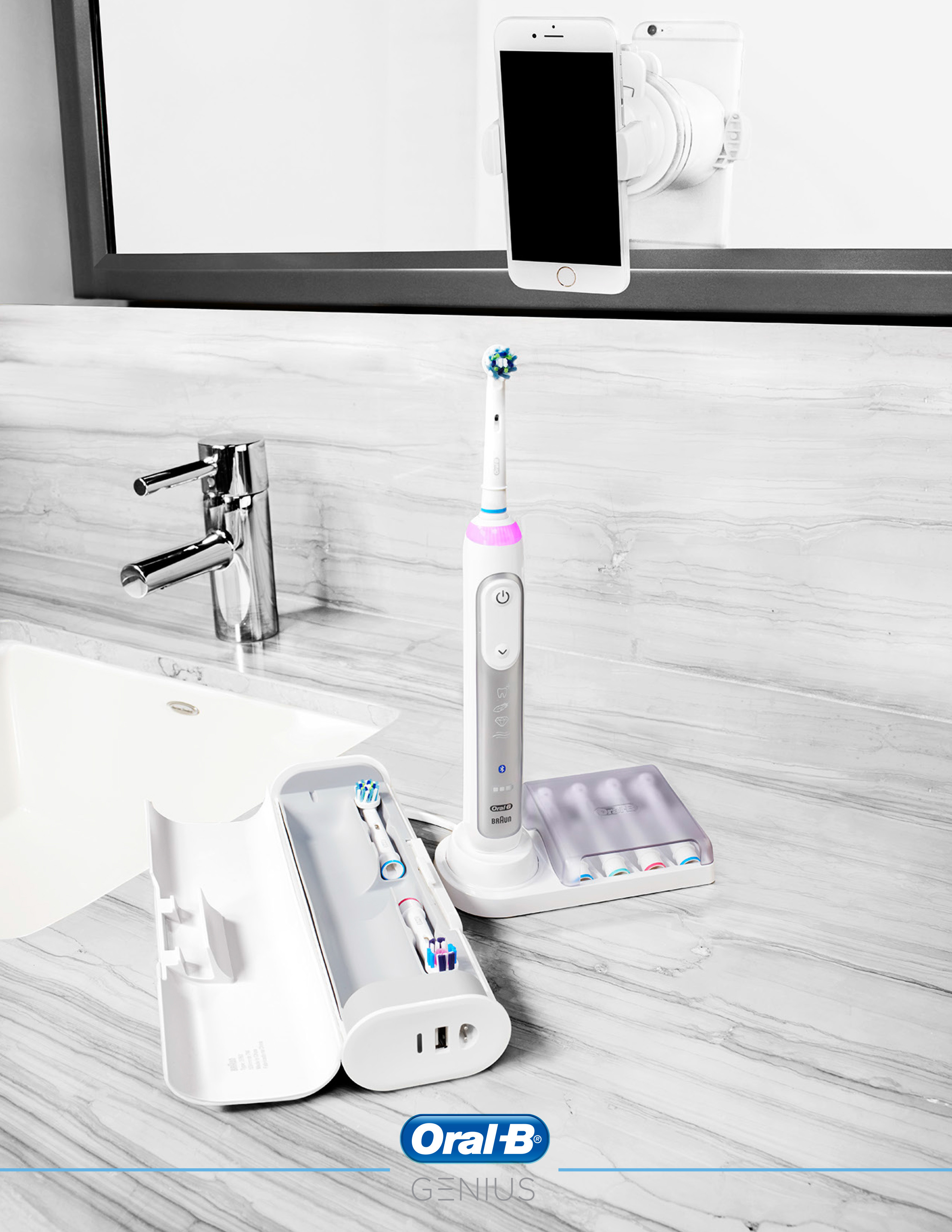 Oral-b genius toothbrush with travel case lifestyle image