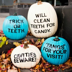 dental themed pumpkins in mixed colors