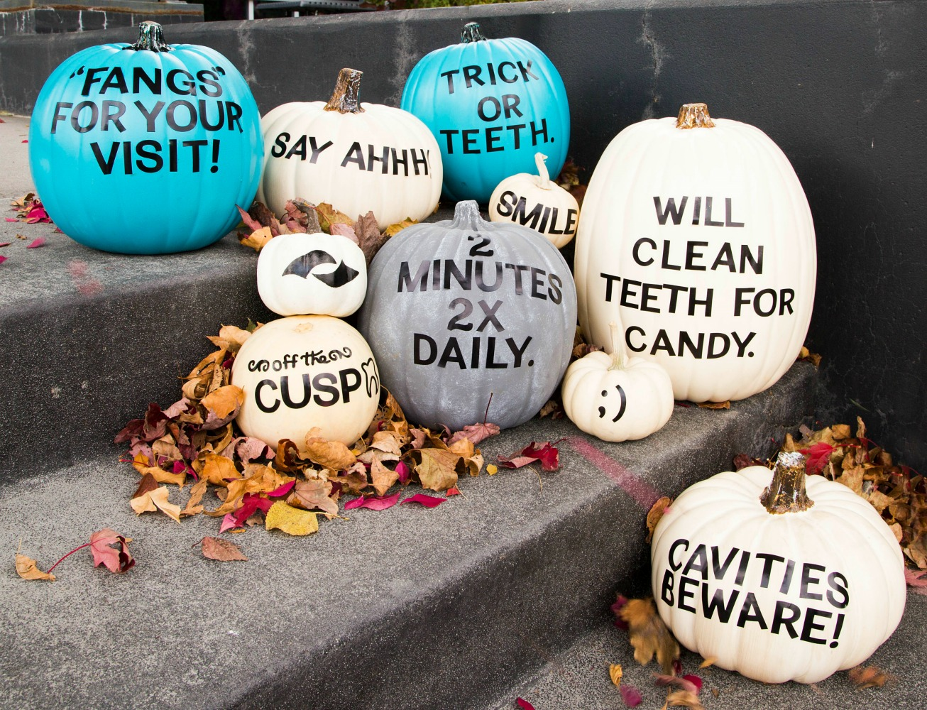group of punny dental pumpkins