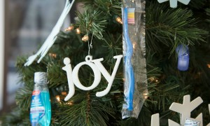 closeup of patient giveaway christmas tree