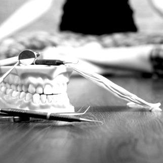 black and white yoga dentist