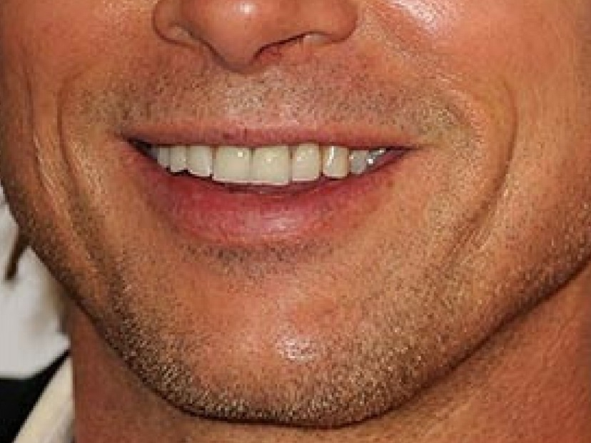 brat pitt smile closeup