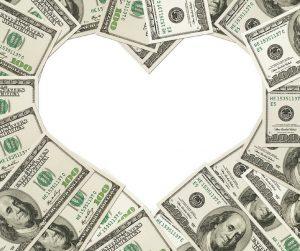 heart shape made of money