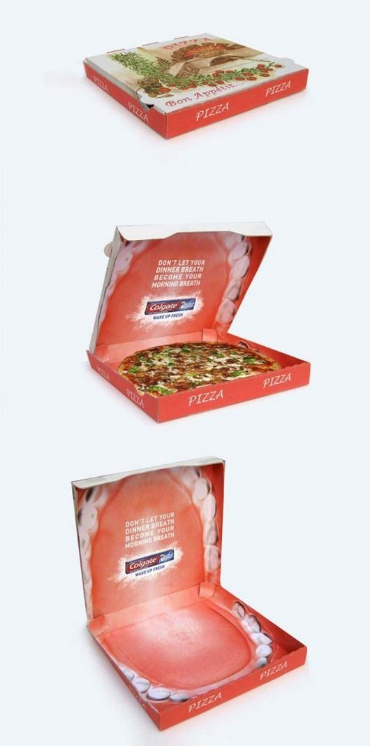 clever dental advertising in pizza box