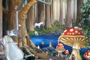 smile kingdom fairytale mural