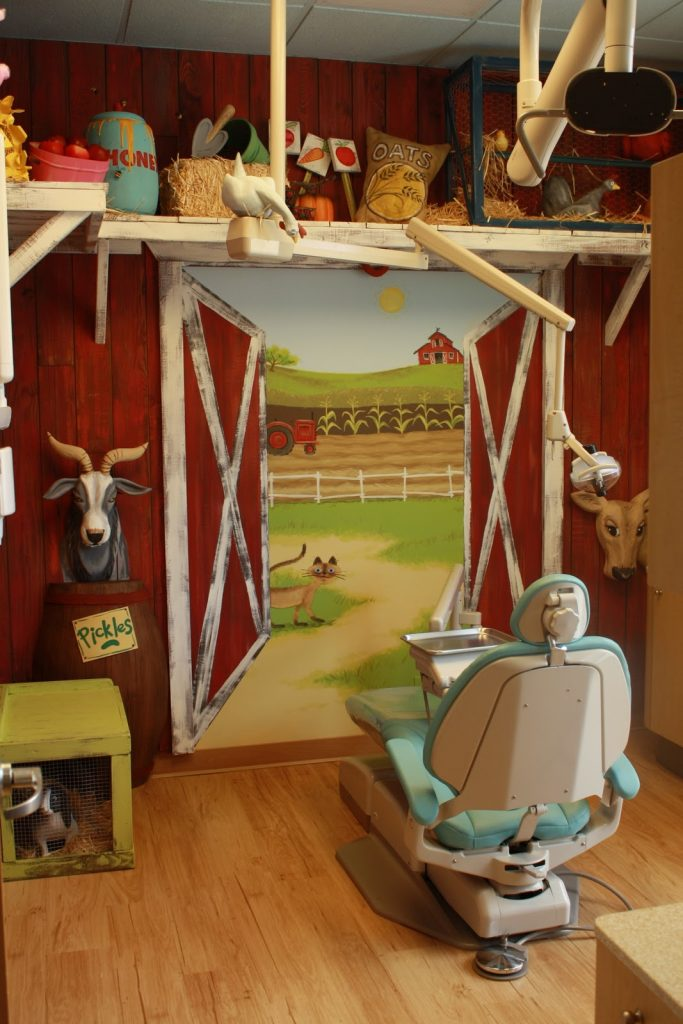farm themed childrens dental operatory
