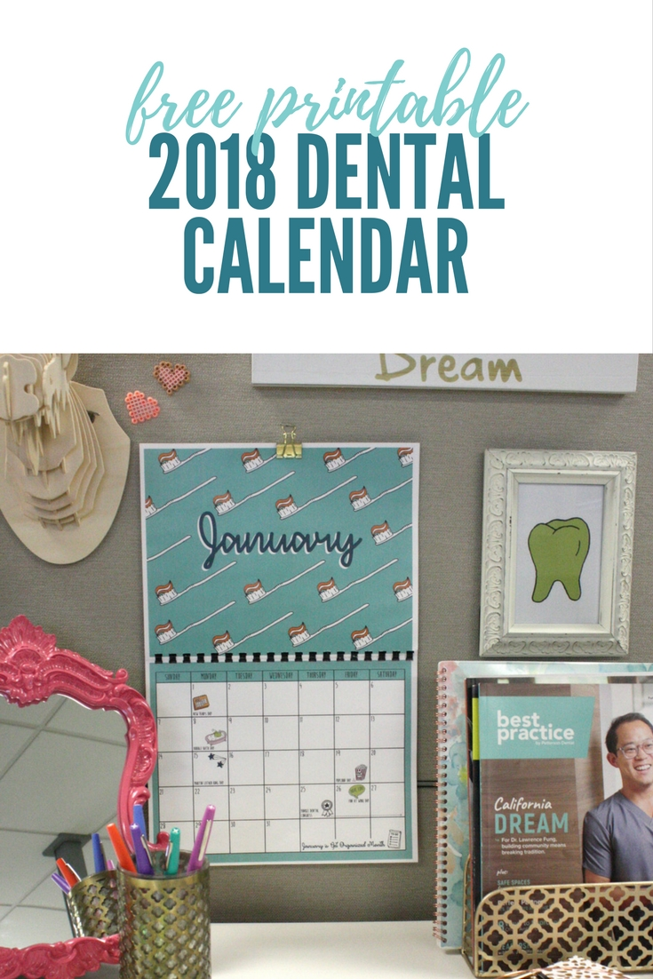 free printable 2018 dental calendar
