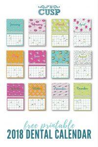 free printable 2018 dental calendar image to pin