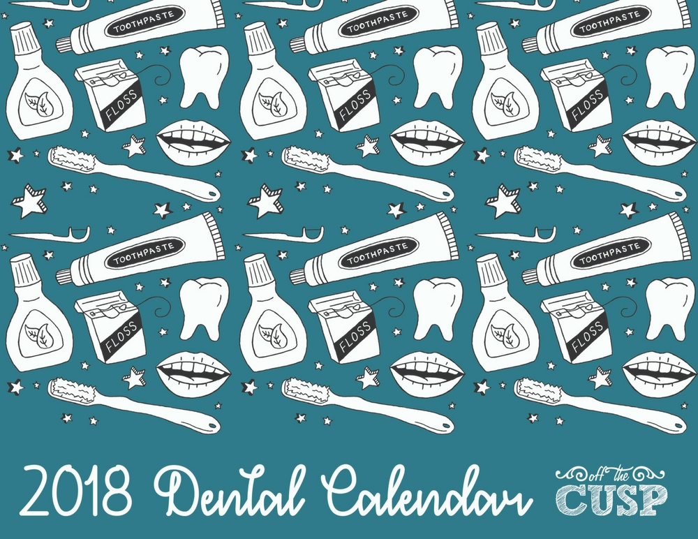 printable 2018 dental calendar front cover
